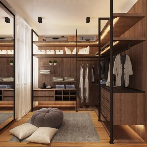 Hệ thống tủ quần áo làm bằng gỗ sang trọng