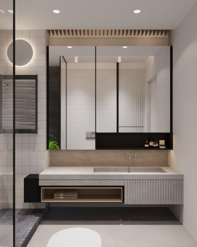 Kính và bê tông mang đến một phòng tắm hiện đại, công nghiệp