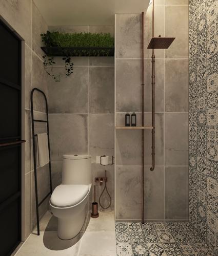 Một kệ cây xanh mang lại sức sống cho phòng tắm công nghiệp nhỏ gọn