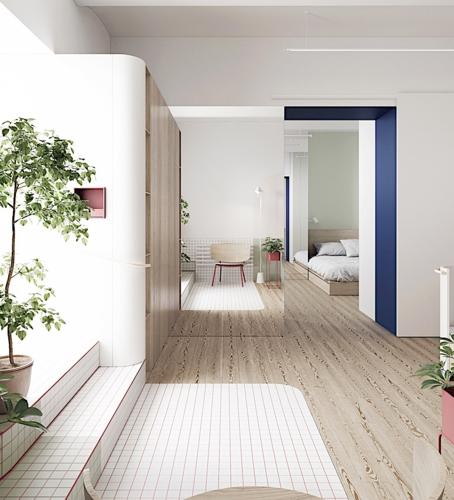Với cách lựa chọn sàn giật cấp chủ nhân đã có một khu vườn nho nhỏ nằm ngay cạnh phòng khách