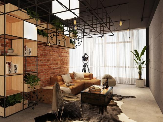 Kệ sắt bố trí dọc tường và phần trần nhà có thể trở thành hộp lưu trữ về sau