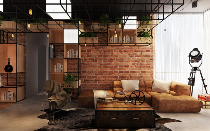 Phòng khách đóng khung trong một chiếc ghế sofa, một bàn cà phê độc đáo nằm trên tấm thảm lông thú