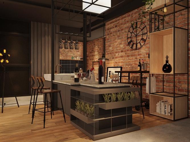 Đảo bếp đồng thời cũng là quầy bar trang trí theo phong cách công nghiệp