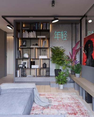 Giá sách làm từ gỗ và đường ống dẫn nước đặc trưng của đồ nội thất phong cách công nghiệp