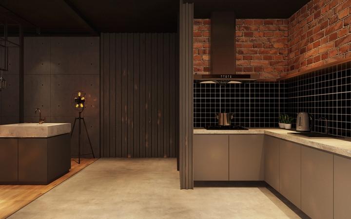Tường bếp pha trộn 3 màu sắc xám, đen và gạch