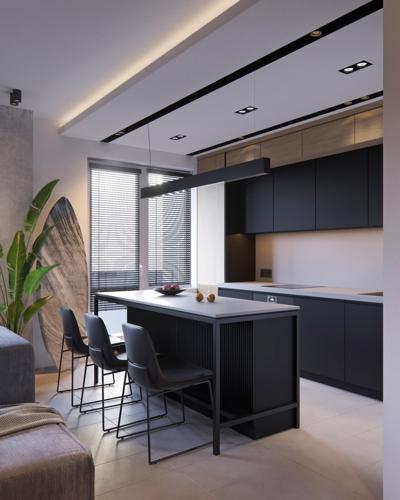 Tủ bếp màu đen nhưng mặt tủ lại sơn trắng dễ dàng cho việc làm sạch