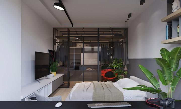 Sau bức tường kính là phòng ngủ