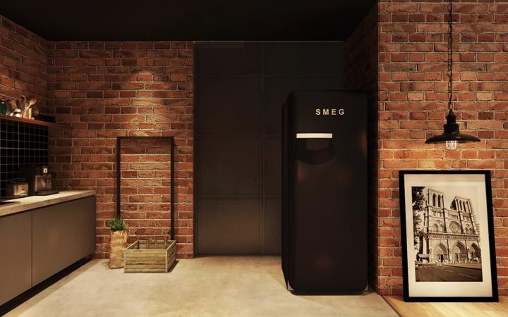 Tủ lạnh màu đen phong cách