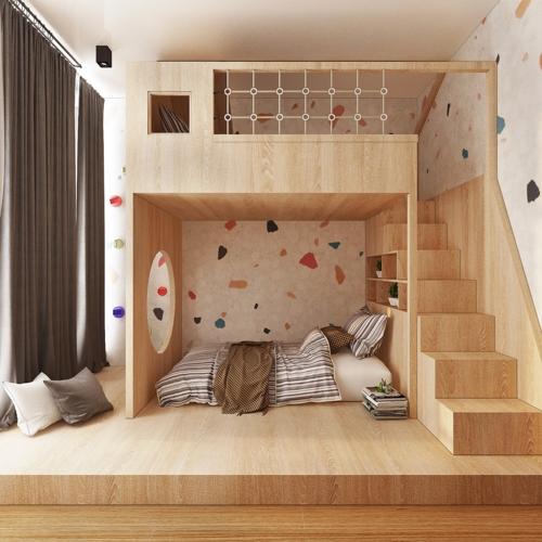 Phòng ngủ trẻ em làm bằng gỗ sáng an toàn và phù hợp với sở thích của trẻ