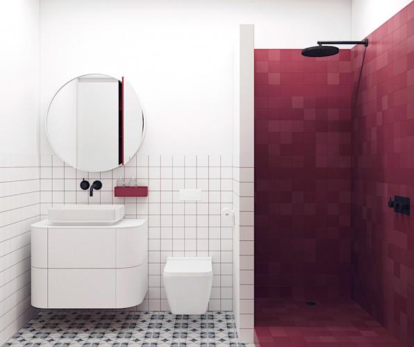 Khu vực tắm và vệ sinh cá nhân được đánh dấu bằng màu sắc