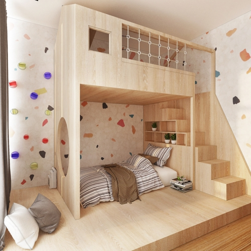Tường cắt dán hình nhiều màu sắc kích thích khả năng sáng tạo và trí tò mò cho bé