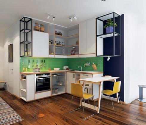 Thêm chút màu sắc cho khoảng nghỉ giữa tủ bếp trên và tủ bếp dưới