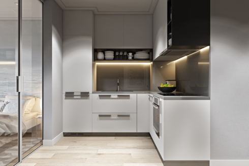 Một trong những kiểu tủ bếp thường thấy nhất trong các căn hộ chung cư chính là tủ bếp chữ L, tủ có hình dáng nhỏ gọn ôm sát tường nên không tốn diện tích