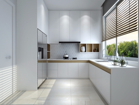 Nếu được thì bếp chung cư nên đặt gần cửa sổ để tăng cảm giác thoáng và rộng