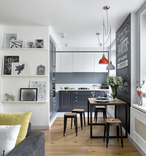 Nếu căn hộ của bạn có bếp liền phòng khách đừng ngần ngại đặt bàn ăn ở giữa