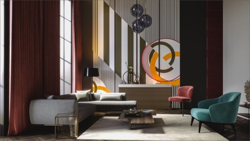 Bức tường có viền kẻ kèm theo những khối hình độc đáo mang lại nét độc đáo cho căn phòng