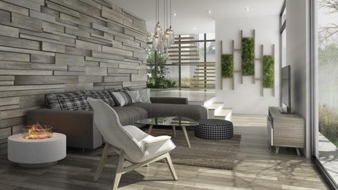 Phòng khách trở nên sang trọng và lạ mắt hơn khi có giá đỡ để cây xanh gắn trên tường