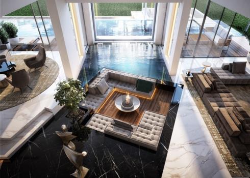 Phòng khách có những hồ bơi ở bên cạnh khiến chúng ta cảm giác như đang ở trong một khách sạn