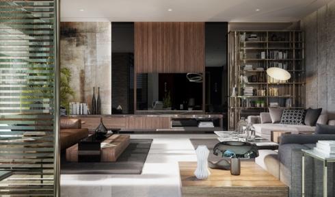 Vân gỗ màu vàng là điểm nhấn nổi bật cho phòng khách rộng rãi