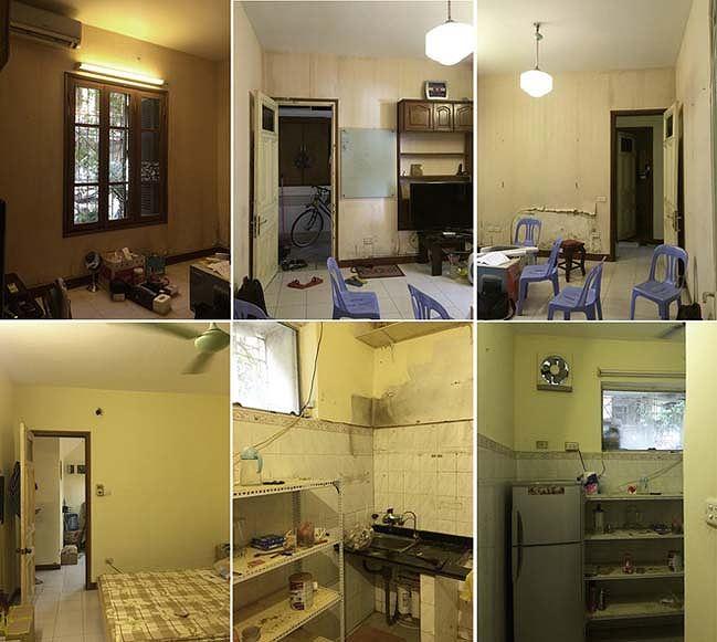 Các mảng tường nhà cũ bong tróc, không gian tối và bí bách của căn hộ trước khi cải tạo