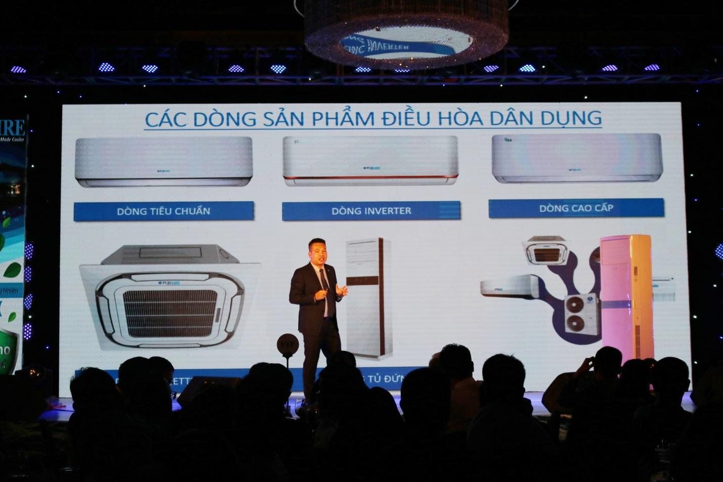 Ông Lê Thanh Tùng – Tổng Giám đốc Công ty TNHH Liên doanh Fujiaire Malaysia Việt Nam trình bày giới thiệu sản phẩm mới