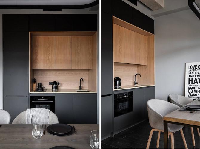 Nhà bếp thiết kế nhỏ gọn trong một tủ kệ chỉ chiếm diện tích hơn 1m2