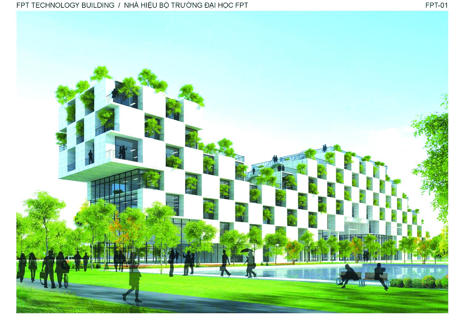Mô hình mô phỏng thiết kế công trình tòa nhà đại học FPT  (Hòa Lạc)
