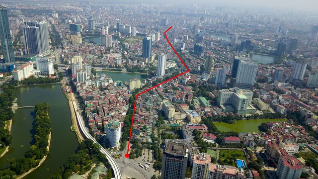 Điểm đầu dự án giao với đường Cát Linh – La Thành – Yên Lãng tại Hoàng Cầu và điểm cuối tại nút giao thông Voi Phục (Ảnh: Toàn Vũ)