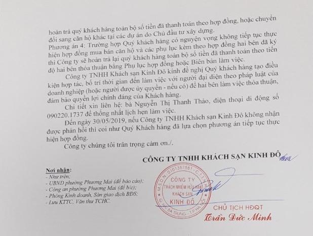 Thông báo của Công ty TNHH Khách sạn Kinh Đô tới khách hàng