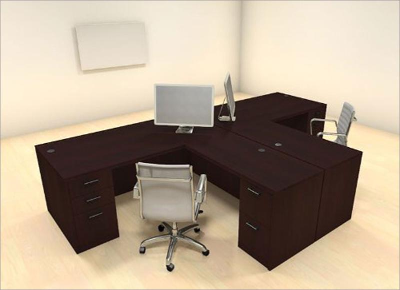 Hai chiếc bàn làm việc dành cho 2 người được gắn chặt với nhau. Mỗi bàn có 5 ngăn kéo để dựng giấy tờ, đồ dùng