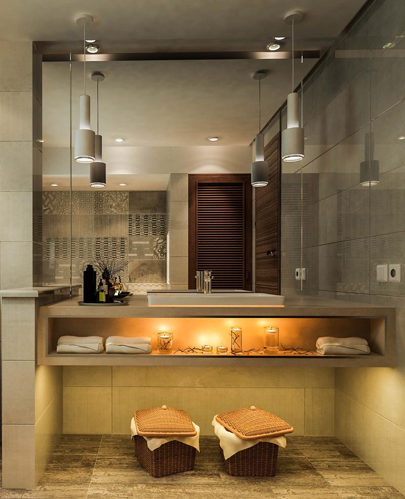 Ánh sáng của đèn tạo nên bảng màu khác nhau cho phòng tắm