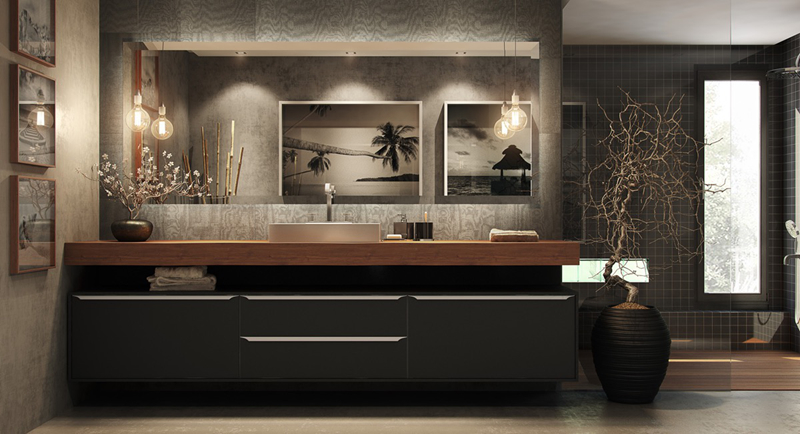Tủ trang điểm màu đen kết hợp với một mặt bàn bằng gỗ, tranh phong cảnh là điểm cộng tiếp theo khiến phòng tắm trở thành tác phẩm nghệ thuật hoàn hảo