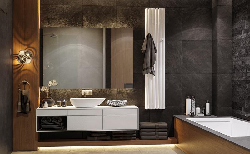 Màu trắng, xám, nâu gỗ và đèn mang đến một phòng tắm hiện đại, phong cách