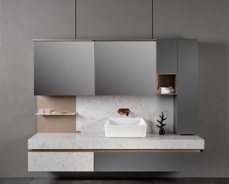 Một chậu rửa trong phòng tắm có thể kết hợp với nhiều loại tủ lưu trữ khác nhau.