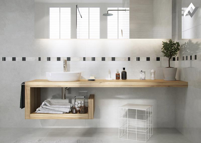 Phần uốn cong tạo thành một kệ thấp hơn, bàn gỗ hiện đại này có một vị trí hoàn hảo để lưu trữ khăn tắm và đồ vệ sinh cá nhân