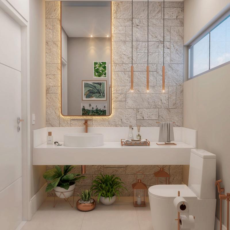 Tạo hình một khu vườn nhiệt đới xinh xắn bên trong phòng tắm kết hợp cùng các loại đèn cổ điển khiến căn phòng vừa hiện đại lại pha lẫn nét ấm cúng, gần gũi