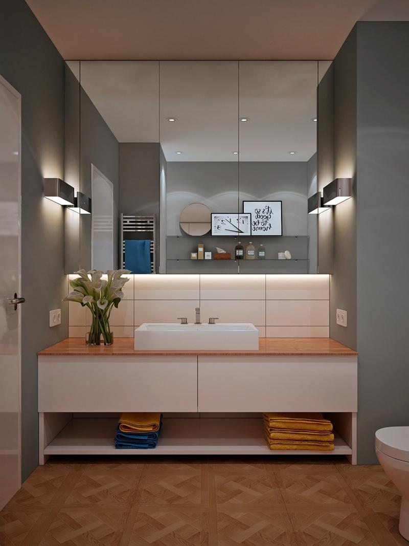 Trong phòng tắm hiện đại, chậu rửa tay không phải lúc nào cũng được gắn trên tường mà đôi khi còn có thể đặt trên mặt kệ
