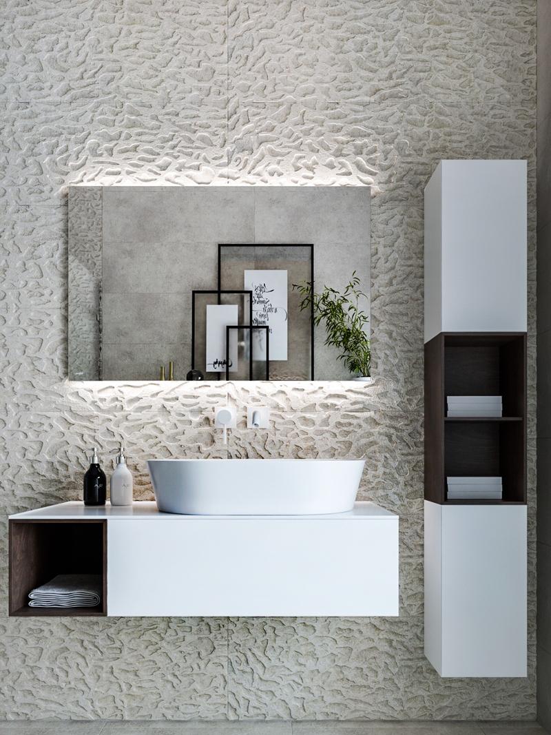 Tường phòng tắm sử dụng nghệ thuật đúc có họa tiết mang đến sự khác biệt