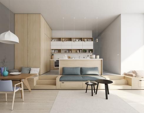 Cả căn phòng trở nên ấm áp hơn khi phòng ăn và phòng khách được bố trí ở gần nhau