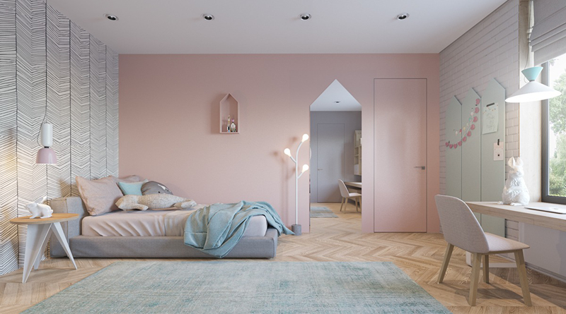 Bức tường màu hồng đã tổ góp phần làm nổi bật cho phòng ngủ của trẻ