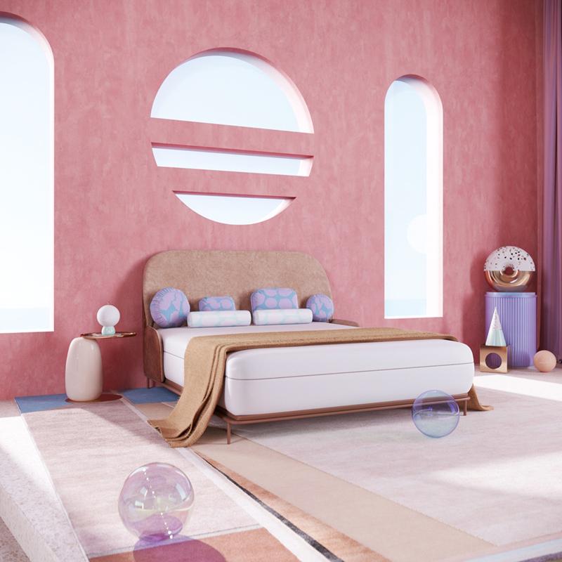 Căn phòng mang phong cách hiện đại vì tường nhà màu hồng có hình đồ họa