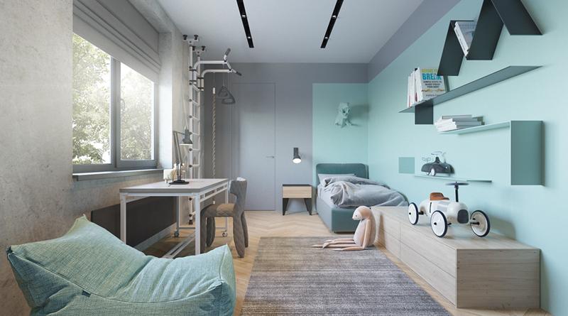 Căn phòng có không gian để trẻ đọc sách và có thể bày biện đồ chơi ở dưới thảm