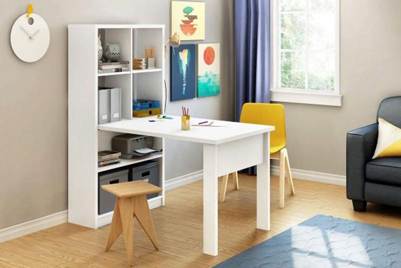 Bàn làm việc gắn liền với giá sách, tiết kiệm diện tích nhà ở