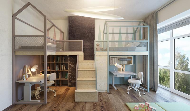 Nếu gia đình bạn có 2 con thì cách thiết kế giường ngủ có cầu thang chung như thế này rất phù hợp. Ở dưới mỗi giường vẫn có khoảng không để kê bàn học