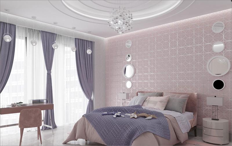 Những chiếc gương tròn và đèn sáng tỏa ra từ trần nhà và cửa ra vào đã tạo nên không gian lãng mạn, sang trọng cho căn phòng