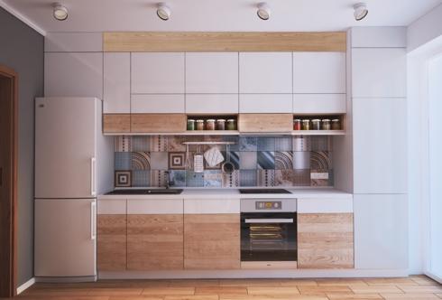 Chiếc tủ lạnh cũng được gắn với tủ bếp, ốp sát vào tường nhà. Với cách bố trí này, gia chủ sẽ tiết kiệm diện tích cho căn phòng mà vẫn có được không gian nhà bếp hiện đại