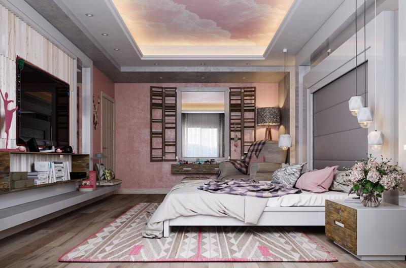 Không gian cổ kính và hiện đại được đan xen ở trong phòng ngủ này