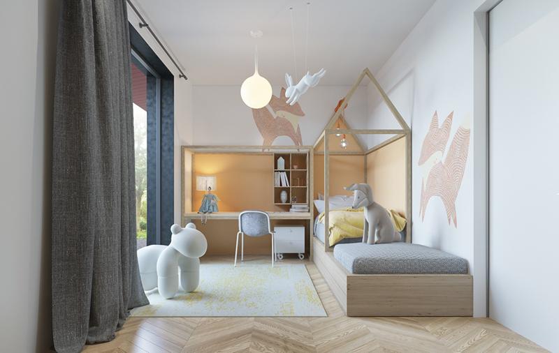 Trẻ sẽ rất thích thú khi nằm trên giường có hình ngôi nhà, xung quanh có những con vật bằng bông trông dễ thương
