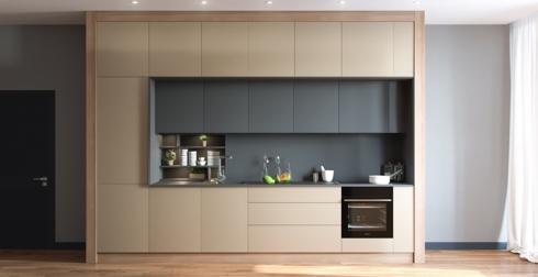 Tủ bếp có vân gỗ màu xanh trên nền màu vàng trông rất sang trọng
