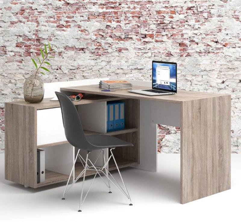 Chiếc bàn vân gỗ nâu này được đặt trong căn phòng có tường gạch sẽ phù hợp hơn